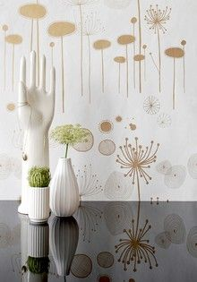 Whimsical illustrated flower wallpaper... what's that hand doing there?!