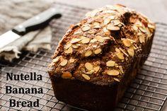 Nutella Banana Bread Recipe almond, banana bread recipes, breakfast, bananas, nutella banana, bake goodi, breads, blog, dessert
