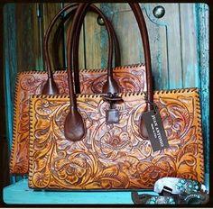 "Handbags/Luggage :: JUAN ANTONIO TOOLED ""SADDLE"" BAGS"