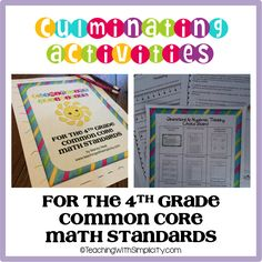 A total of 50 Common Core Math activities! The Standards are divided by domain. Each domain includes a performance task, a choice board and 9 accompanying activities.  The only preparation needed is printing of the activities.  This product is ideal for the end of the school year after testing and also great for summer school. Keep your students engaged with enrichment and focus. $