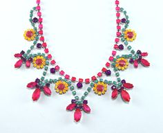 Neon Painted Rhinestone Necklace Fuchsia, Turquoise, Purple, Yellow