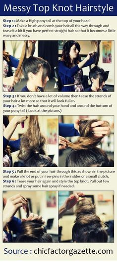 Messy Top Knot Hairstyle   Hair and Beauty Tutorials