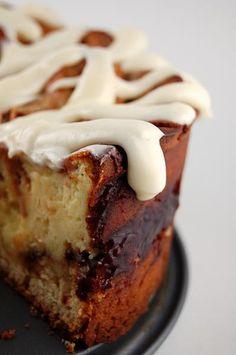 Ooooooh!  Cinnamon Roll Cheesecake with Cream Cheese Frosting