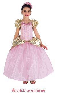 Princess Grace Dress - a gown fit for royalty! Pretty pink fabrics and gold details.  #princess #dressup #pretend #play