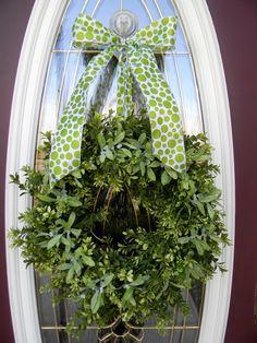 "Christmas Door Wreath Decor..""Mistletoe Kisses"" ."