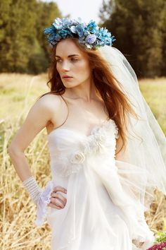 Love Me Do  Romantic Boho Wedding Gown Silk by clairelafaye - so pretty.  Love the floral crown with it.