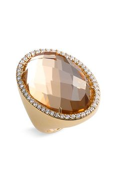 Roberto Coin Rock Crystal & Diamond Ring in Rose Gold