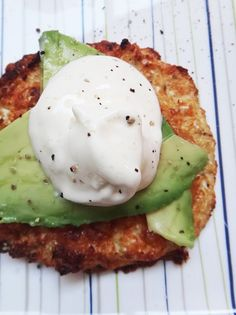 Low Carb Recipes - Cauliflower 'Bread' topped with avocado and sour cream. #ketogenic #diet #lowcarbs #lchf #recipes