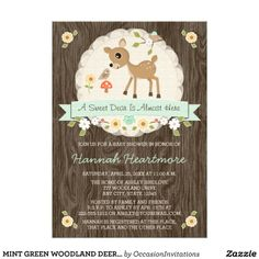 MINT GREEN WOODLAND DEER BABY SHOWER PERSONALIZED INVITATION