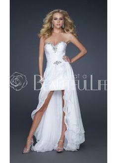 $161.99  White Sweetheart Natural Hi-Lo Beading Satin Prom Dress With Detachable Chiffon Skirt #white #sweetheart #dress
