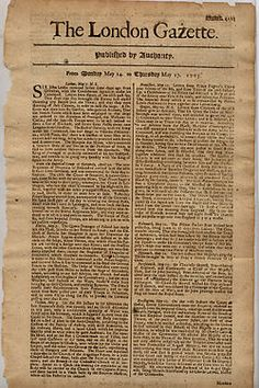 The London Gazette, was published as The Oxford Gazette when it was first published on November 1665.