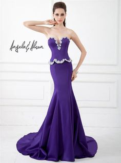 Angela and Alison Satin Mermaid Pageant Gown style 41044
