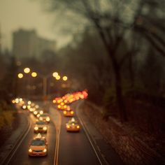 Taxis at Night, Central Park NYC :: photo by Irene Suchocki (Eye Poetry) Parks, City Life, City Lights, Yellow, New York City, Tiltshift, Central Park, Travel Photography, Tilt Shift