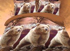 Brown Bear Standing on Trunk Print 3D Duvet Cover Sets  Buy link->http://goo.gl/JeJ4YF Live a better life, start with @beddinginn http://www.beddinginn.com/product/Brown-Bear-Standing-on-Trunk-Print-4-Piece-Polyester-3D-Duvet-Cover-Sets-11034938.html