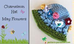crochet hat patterns, free crochet kids hats, free pattern, crochet hats, flower hat, crochet patterns, flower crochet, flower patterns, chameleon hat