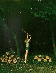 girl, style, chop wood, art, helmut newton green, inspir, 1978, château daunoy, photographi