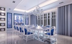 White and Blue  Room   White and blue dining room
