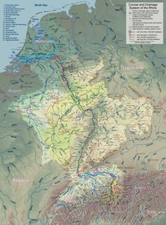 Watershed of the Rhine River, from Wikepedia. Very good detail and colours.
