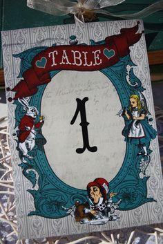 Vintage Alice In Wonderland Table Numbers by VintageWeddingPress, $5.00