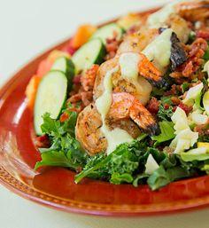 Shrimp Cobb Salad with Avocado Dressing
