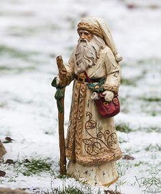 Gold Overcoat Santa Figurine front lawn, santa figurines, christma cheer, zulili, spread christma, santaclaus, woodcarv, figurin zulilyfind