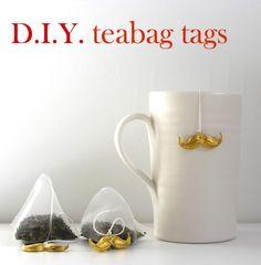 tea time, craft, tea bag, teas, teabag tag, moustaches, tag tutori, diy, bags