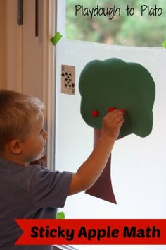 Sticky Apple Math: Hands-on game practicing numbers, addition and early division. {Playdough to Plato}