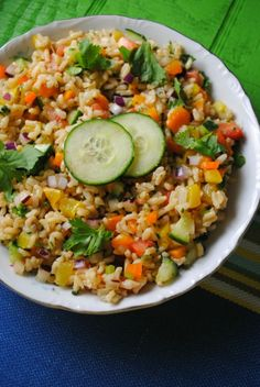 Brown Rice Salad with Cilantro Lime Dressing