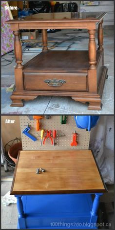 DIY- FURNITURE REPURPOSE  - create a toy WORKBENCH for the little budding DIY-er in the family from an old side table