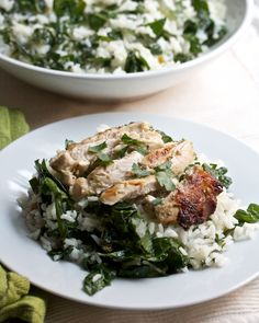 Grilled Chicken with Kale-Rice Salad