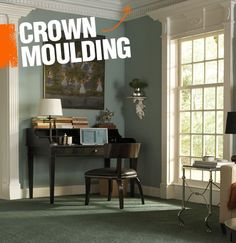 Crown moulding is the moulding that can be found where the ceiling and wall meet. There are many different styles of crowm moulding, such as dentil moulding (pictured here), egg and dart, or roped moulding.