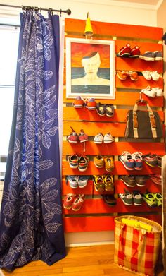built-in shoe wall. brilliant.   Stephen & Antwann's Cool, Clever Home