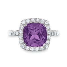 Cushion-Cut Amethyst Ring with Lab-Created White Sapphire and Diamond Accents in 10K White Gold
