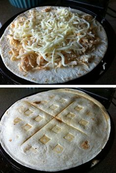 Quesadilla in  a waffle iron