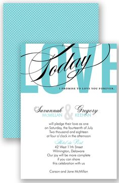 Typography Tribute Wedding Invitation in Pool by David's Bridal | Follow us and start pinning pretty paper options - from invitations and save the dates to programs and table numbers - for a chance to win $1,000 to InvitationsbyDavidsBridal.com. Enter here: http://sweeps.piqora.com/rsvpready