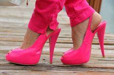 Hot pink heels.