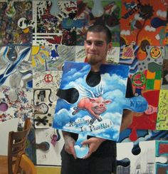 """Puzzle Installation and Collaborative Project - artist Tim Kelly. Good for beginning of the year mural in art or any classroom. Good for an auction with smaller pieces - with a theme. This was making something """"meaningful to you."""""""