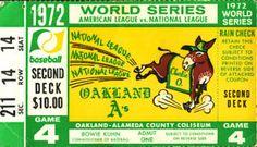1972 World Series | 1972 World Series Game 4 Ticket Stub Oakland A's Reds