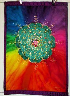"Silk wall hanging, ""Opening the Heart Chakra"" MADE TO ORDER spiritual art, meditation art, yoga art, reiki art,chakra art. Etsy."