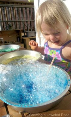 Bubbling Concoctions Sensory Lab from Growing a Jeweled Rose- mix & concoct your own bubbling combinations while discovering colors and exploring scents using simple household ingredients (Fun & Simple Summer sensory play)