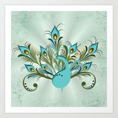 Just a Peacock Art Print by Ruxique - $15.00