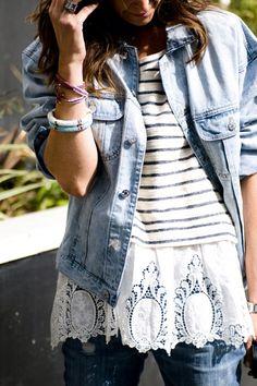 Denim, stripes + lace