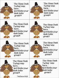 The Clean Desk Turkey - cute freebie!