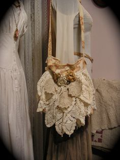 Doily Fabric Bag vintage crocheted doilies by TatteredDelicates, $125.00
