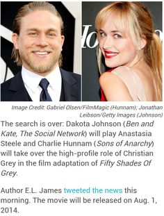 Charlie Hunnam and Dakota Johnson set to play Christian Grey and Anastasia Steele in the August 1, 2014 release of Fifty Shades of Grey