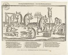Varkens die spinnen, 1673, anoniem, 1673 spindl spin, strang thing