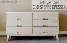 how to build a Crate & Barrel Steppe dresser via MakelyHome.com