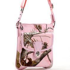Realtree Pink Purse, Cross Body Camo Messenger Bag Womens Handbag Vegan Tote  Price : $49.99 http://www.camochique.com/Realtree-Pink-Messenger-Womens-Handbag/dp/B00DCKLU0E