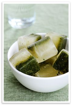 Lemon mint ice cubes.