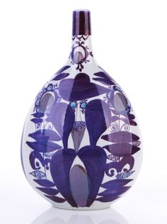 Kari Christensen for Royal Copenhagen Aluminia, Denmark  Faience Bottle Vase, c1960s